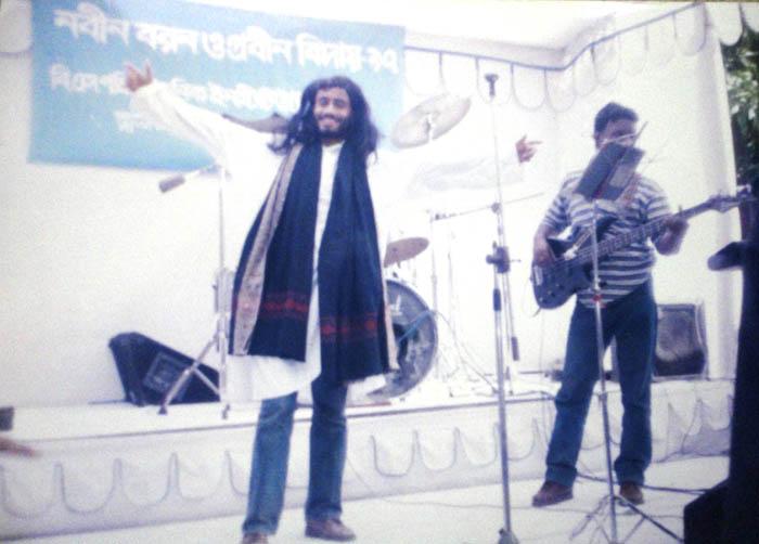 Salauddin(29-wood) Singing in Nabin Boron in 1996